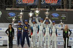GT podium: winners Bill Auberlen, Maxime Martin, second place Dirk Müller, Joey Hand, third place Marc Goossens, Dominik Farnbacher