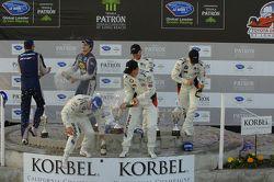 GT podium: winners Bill Auberlen, Maxime Martin, second place Dirk Müller, Joey Hand, third place Ma