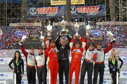 GTC podium: winners Henrique Cisneros, Sean Edwards, second place Nelson Canache, Spencer Pumpelly, third place Brian Wong, Dion von Moltke