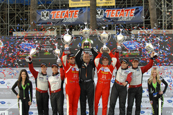 GTC podium: winners Henrique Cisneros, Sean Edwards, second place Nelson Canache, Spencer Pumpelly, third place Brian Wong, Dion von Moltke