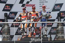 Podium: Pemenang Marc Marquez, posisi kedua Dani Pedrosa, posisi ketiga Jorge Lorenzo