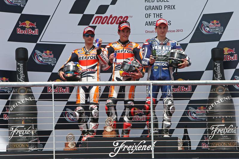 Le podium du GP des Amériques 2013 : Marc Márquez, Dani Pedrosa, Jorge Lorenzo