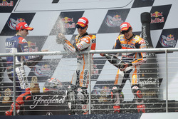 Podium: winner Marc Marquez, second place Dani Pedrosa, third place Jorge Lorenzo