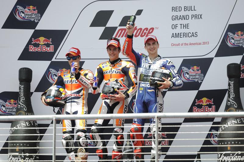 Le podium : Marc Márquez, Dani Pedrosa et Jorge Lorenzo