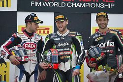 Podium: winner Tom Sykes, second place Jonathan Rea, third place Sylvain Guintoli