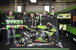 The Kawasaki team celebrate's Tom Sykes' weekend
