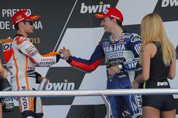 Podium: race winner Dani Pedrosa, Repsol Honda Team, third place Jorge Lorenzo, Yamaha Factory Racin