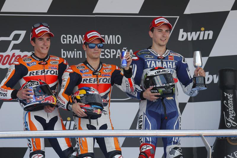 Podio: 1º Dani Pedrosa,2º Marc Márquez, 3º Jorge Lorenzo