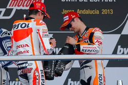 Podio: segundo lugar Marc Márquez, del equipo Repsol Honda, Dani Pedrosa, Repsol Honda Team ganador