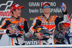 Podium: second place Marc Marquez, Repsol Honda Team, race winner Dani Pedrosa, Repsol Honda Team