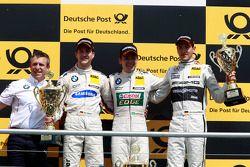 Podium, Bart Mampaey, BMW Team RBM, 2e Dirk Werner, BMW Team Schnitzer BMW M3 DTM, 1er Augusto Farfu