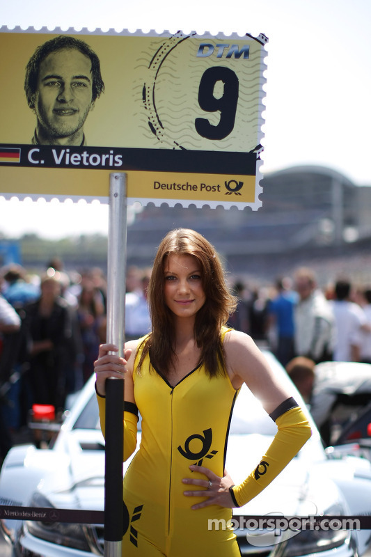 Grid girl of Christian Vietoris Mercedes AMG DTM-Team HWA DTM Mercedes AMG C-Coupé