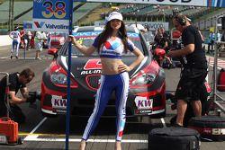 Marc Basseng, SEAT Leon WTCC, ALL-INKL.COM Munnich Motorsport y una chica de la parrilla