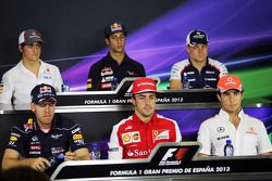 Esteban Gutiérrez, Sauber; Daniel Ricciardo, Scuderia Toro Rosso; Valtteri Bottas, Williams; Sebastian Vettel, Red Bull Racing; Fernando Alonso, Ferrari; Sergio Pérez, McLaren