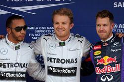 Nico Rosberg, Mercedes AMG F1, Lewis Hamilton, Mercedes AMG F1 et Sebastian Vettel, Red Bull Racing