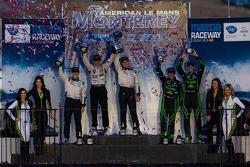 P2 class podium: winners Scott Tucker and Marino Franchitti, second place Ryan Briscoe, third place Scott Sharp and Guy Cosmo