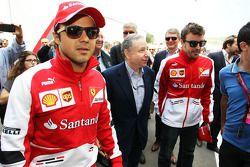 (L to R): Felipe Massa, Ferrari with Jean Todt, FIA President and Fernando Alonso, Ferrari