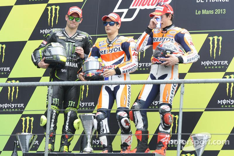 Podio: 1º Dani Pedrosa, 2º Cal Crutchlow, 3º Marc Márquez