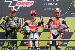 Podio: ganador de la carrera Dani Pedrosa, Repsol Honda Team, segundo lugar Cal Crutchlow, Monster Yamaha Tech 3, tercer lugar Marc Márquez, Repsol Honda Team