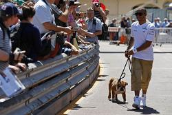 Lewis Hamilton, Mercedes AMG F1, with his dog Roscoe