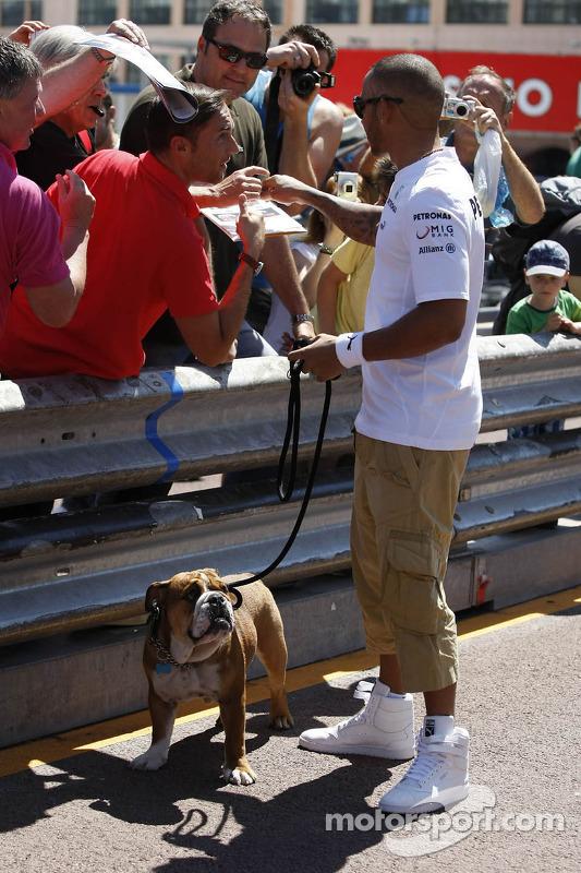 Lewis Hamilton, Mercedes AMG F1, com seu cachorro Roscoe, assina autógrafos para os fãs