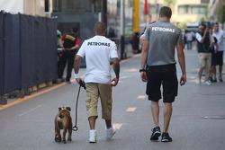 Lewis Hamilton, Mercedes AMG F1 with his dog Roscoe