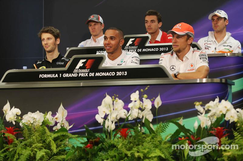 The FIA Press Conference, Nico Hulkenberg, Sauber; Jules Bianchi, Marussia F1 Team; Adrian Sutil, Sahara Force India F1; Romain Grosjean, Lotus F1 Team; Lewis Hamilton, Mercedes AMG F1; Jenson Button, McLaren