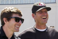 J.R. Hildebrand, Panther Racing Chevrolet and Jim Harbaugh, 49ers NFL football coach
