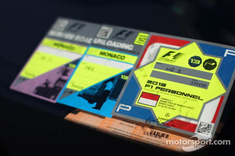 Car pass for Bernie Ecclestone, CEO Formula One Group (FOM)