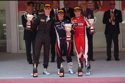 Podium: race winner Sam Bird, second place Kevin Ceccon, third place Mitch Evans