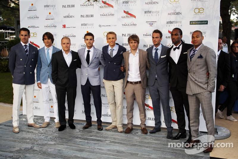 (L naar R):Adrian Sutil, Sahara Force India F1; Esteban Gutierrez, Sauber; Valtteri Bottas, Williams; Jules Bianchi, Marussia F1 Team; Max Chilton, Marussia F1 Team; Charles Pic, Caterham; Giedo van der Garde, Caterham F1 Team, bij de Amber Lounge Fashion S