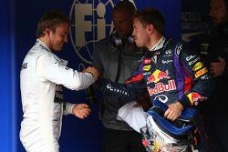 Pole position voor Nico Rosberg, Mercedes AMG F1 W04 en 3e plaats for Sebastian Vettel, Red Bull Rac