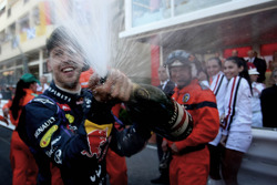 Sebastian Vettel, Red Bull Racing celebrates on the podium