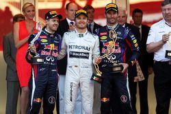 Podium: Sieger Nico Rosberg, 2. Sebastian Vettel, 3. Mark Webber