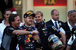 Sebastian Vettel, Red Bull Racing celebrates his second position with Christian Horner, Red Bull Rac