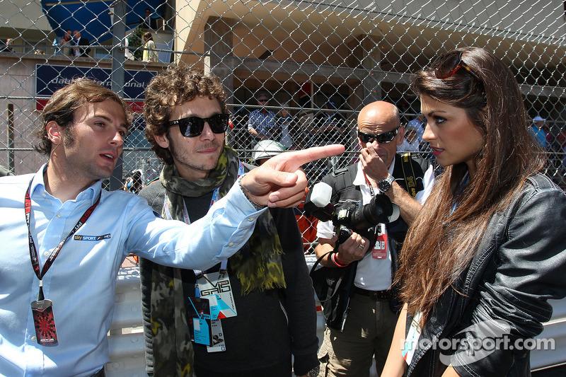 Valentino Rossi, Moto GP rider with his girlfriend Linda Morselli, Sky Sports F1 TV Presenter, on the grid