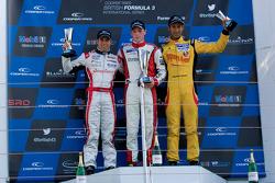 Podium from left: Felipe Lopes Guimares, William Buller and Sean Gelael