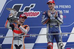 Race winner Jorge Lorenzo, second place Dani Pedrosa