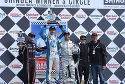 Race winner Simon Pagenaud, second place James Jakes, third place Mike Conway