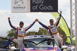 Jose Suarez and Candido Carrera, Ford Fiesta R2 on the podium
