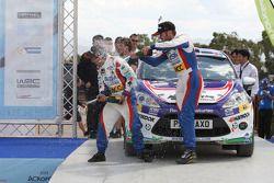 Jose Suarez and Candido Carrera, Ford Fiesta R2 on the podium