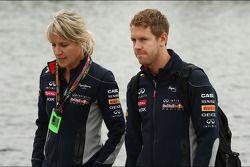 Sebastian Vettel, Red Bull Racing with Britta Roeske, Red Bull Racing Press Officer