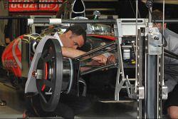 McLaren MP4-28 prepared in the pits