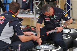 Red Bull Racing mechanics prepare Pirelli tyres