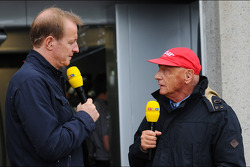 (L to R): Florian Konig, RTL TV Presenter with Niki Lauda, Mercedes Non-Executive Chairman. - www.xpbimages.com, EMail: requests@xpbimages.com - copy of publication required for printed pictures. Every used picture is fee-liable. © Copyright: Photo4 / XP