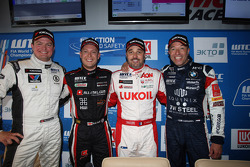 Qualifying press conference: Michel Nykjaer, Chevrolet Cruze 1.6T, Nika Racing, Robert Huff, SEAT Leon WTCC, ALL-INKL.COM Munnich Motorsport, Yvan Muller, Chevrolet Cruze 1.6T, RML and Tom Coronel, BMW E90 320 TC, ROAL Motorsport