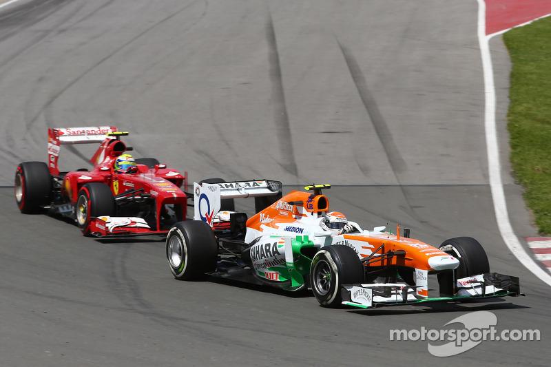 Adrian Sutil, Sahara Force India VJM06 voor Felipe Massa, Ferrari F138