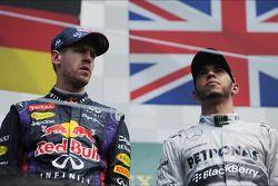 The podium: Sebastian Vettel, Red Bull Racing, race winner; Lewis Hamilton, Mercedes AMG F1, third