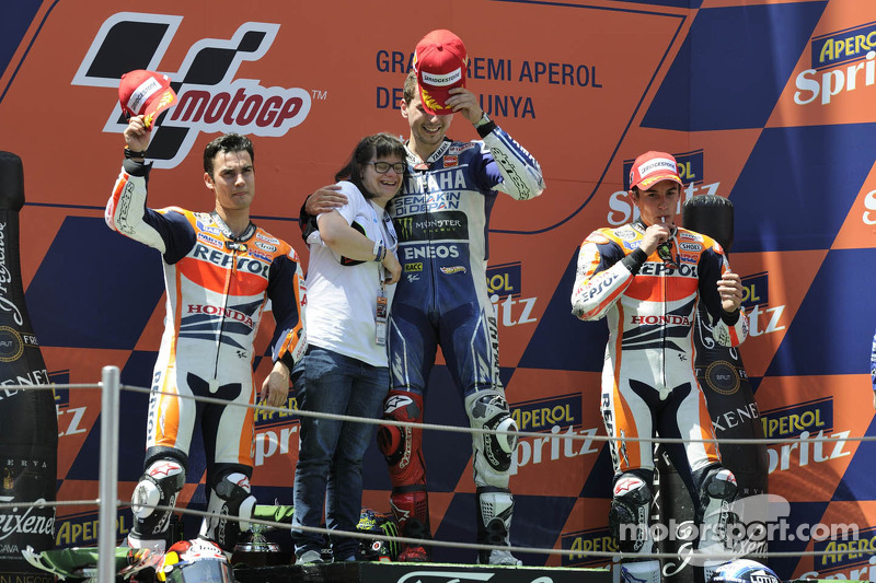 Podio: 1º Jorge Lorenzo, 2º Dani Pedrosa, 3º Marc Márquez