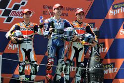 Race winner Jorge Lorenzo, Yamaha Factory Racing, second place Dani Pedrosa, Repsol Honda Team, thir